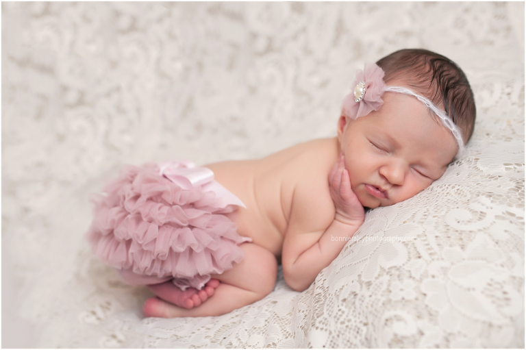 newborn photographer newborn girl ruffle butt cover